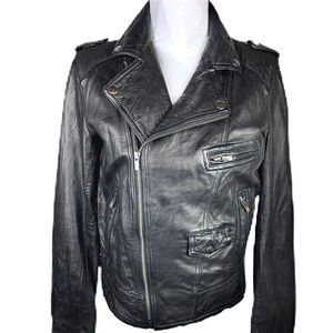 Black Rivet Leather Bomber Sz Med